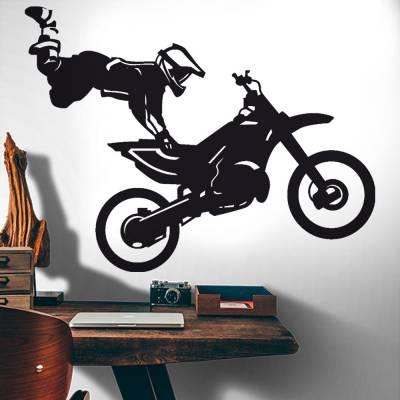 Adesivo de Parede Piloto de Moto Manobra