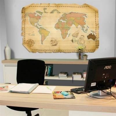 Adesivo de parede Mapa Mundi Antigo