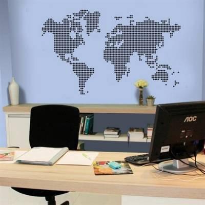 Adesivo de parede Mapa Mundi Circulos