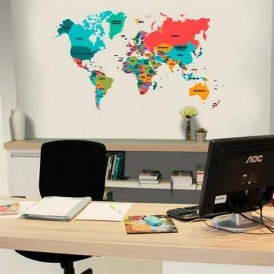 Adesivo de Parede Mapa Mundi Colorido