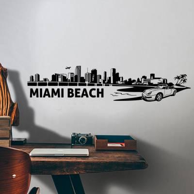 Adesivo De Parede Silhueta Miami Beach