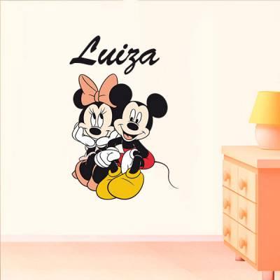 Adesivo de Parede Infantil Mickey e Minnie com Nome Personalizado