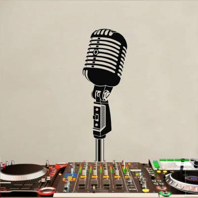 Adesivo De Parede Microfone Retrô