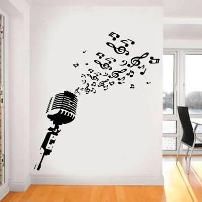 Adesivo De Parede Microfone Com Notas Músicais