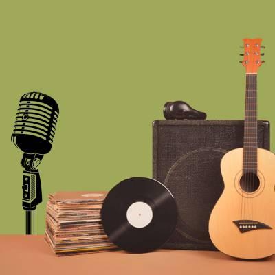 Adesivo De Parede Musicais Microfone Retrô