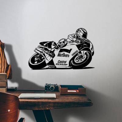 Adesivo De Parede Motoqueiro Com Moto De Corrida