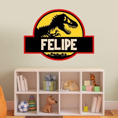 Adesivo de Parede Mundo dos Dinossauros Com Nome Personalizado