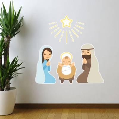 Adesivo de Parede Jesus Maria e José