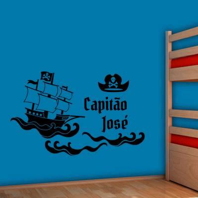 Adesivo De Parede Navio Pirata Com Nome Personalizado