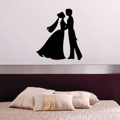 Adesivo De Parede Noivos Se Beijando