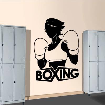 Adesivo de Parede Para Lutadora de Boxe Silhueta