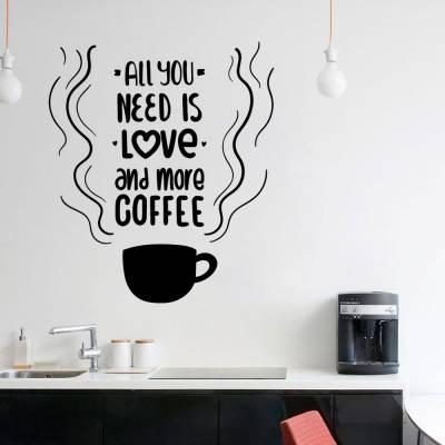 Adesivo de parede para cozinha ou escritorio eu amo cafe