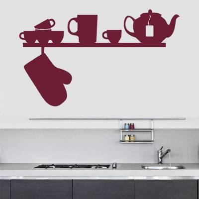 Adesivo de Parede para Cozinha Prateleira com Itens