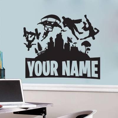 Adesivo de Parede Fortnite Nome Personalizado