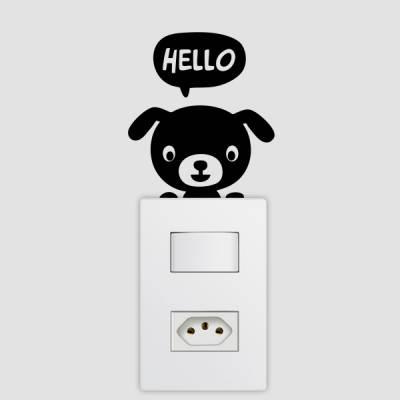 Adesivo de Parede para Interruptor Cachorrinho Hello