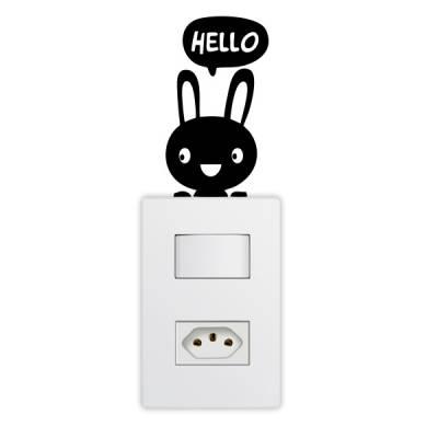 Adesivo de Parede para Interruptor Coelhinho Hello