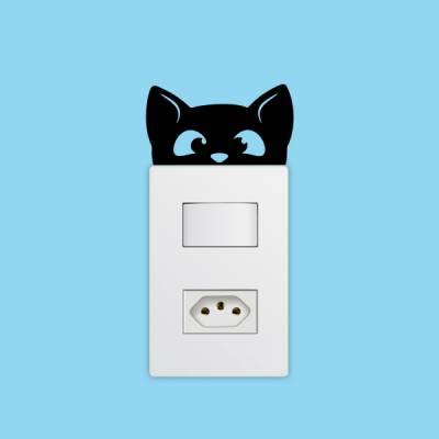Adesivo de Parede para Interruptor Gatinho Espião
