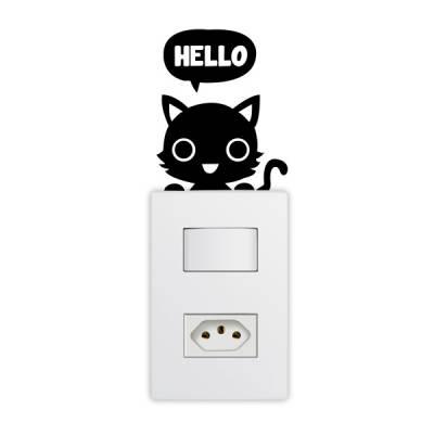 Adesivo de Parede para Interruptor Gatinho Hello