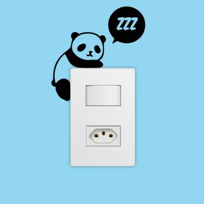 Adesivo de Parede para Interruptor Panda Dormindo