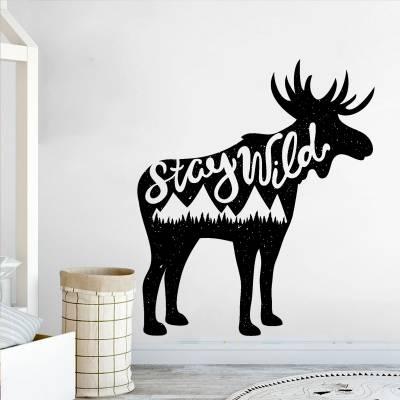 Adesivo de parede para quadto alce stay wild
