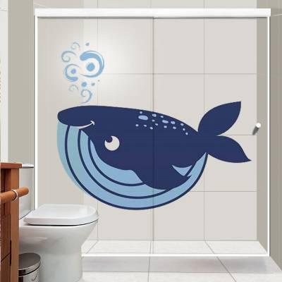 Adesivo de parede baleia cartoon