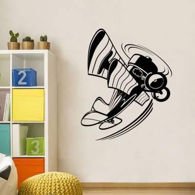 Adesivo de parede avião teco teco cartoon