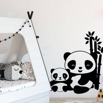 Adesivo de Parede Familia Panda com Bambu