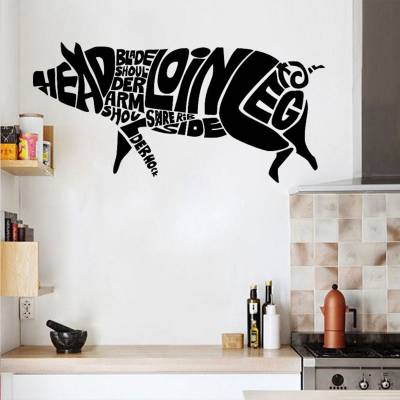 Adesivo de Parede Nomes De Carnes Formando Porco