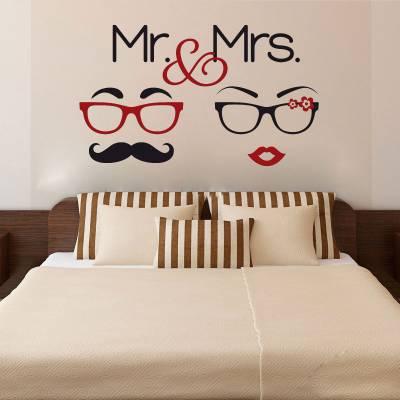 Adesivo de Parede Mr & Mrs Silhueta
