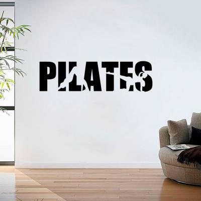 Adesivo de Parede Palavra Pilates Silhuetas