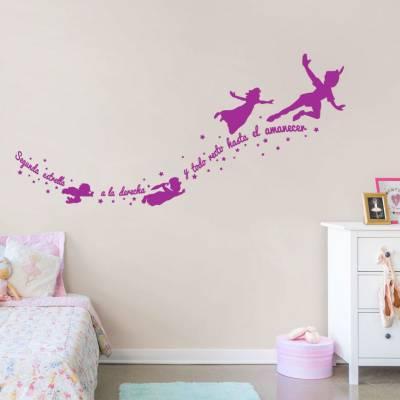 Adesivo de Parede Peter Pan Voando Com Frase