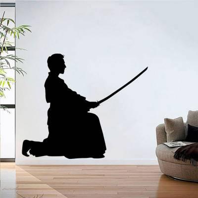 Adesivo de Parede Samurai ajoelhado