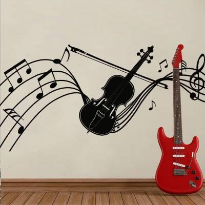 Adesivo De Parede Partitura Com Violino