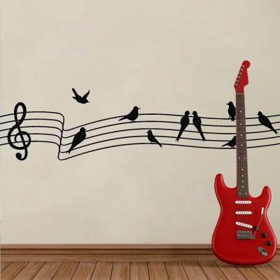 Adesivo De Parede Pássaros Musicais