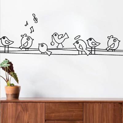 Adesivo De Parede Pássaros Formas No Fio