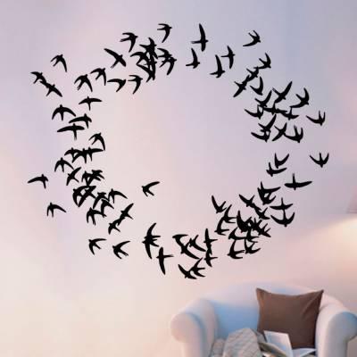 Adesivo De Parede Animais Pássaros Voando