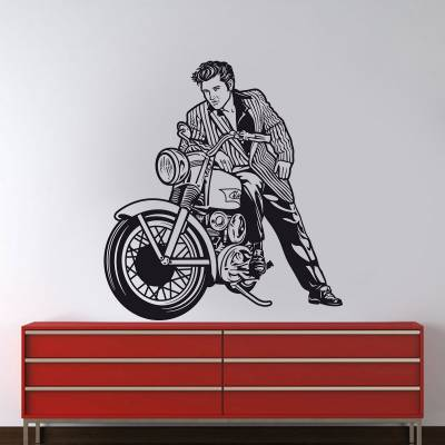 Adesivo de Parede Personalidade Elvis na Moto