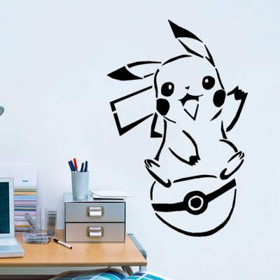 Adesivo De Parede Pikachu E Sua Pokebola
