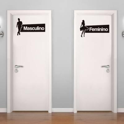 Adesivo Placa de Banheiro Masculino e Feminino