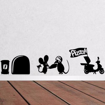 Adesivo de Parede Divertido Ratinho Pedindo Pizza