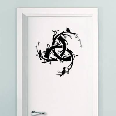 Adesivo De Parede Simbolo Celta Galhos E Pássaros