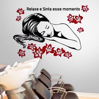 Adesivo de Parede Estética Frase Relaxe e Sinta Este Momento