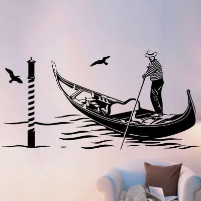 Adesivo De Parede Homem No Seu Barco Em Veneza