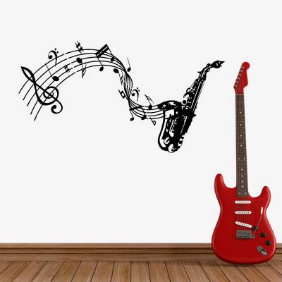 Adesivo de Parede Saxofone Com Notas Musicais