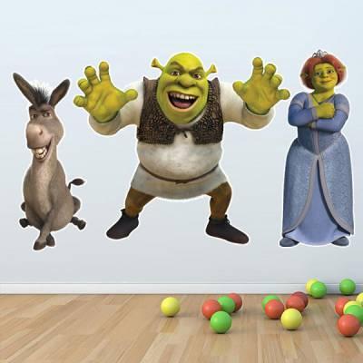 Adesivo de Parede Shrek Fiona e Burro