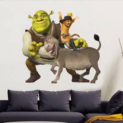 Adesivo de Parede Shrek Burro e Gato de Botas
