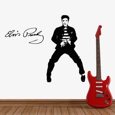 Adesivo de Parede Silhueta E Assinatura Elvis Presley