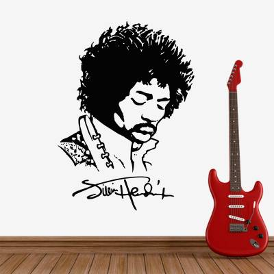 Adesivo De Parede Silhueta E Assinatura Jimmy Hendrix