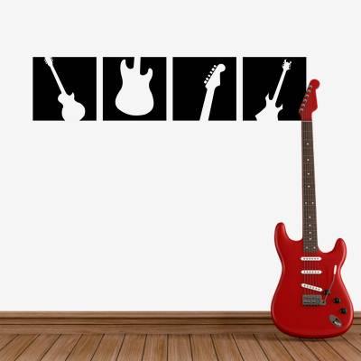 Adesivo De Parede Silhueta Guitarras