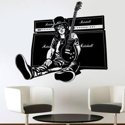 Adesivo De Parede Slash Com Sua Guitarra